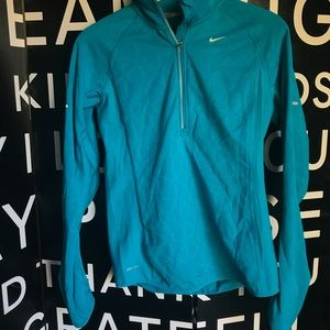 Nike Running Dri Fit Teal Blue Long Sleeve 3/4 ZIP